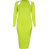 River Island Womens Lime cut out long sleeve bodycon dress