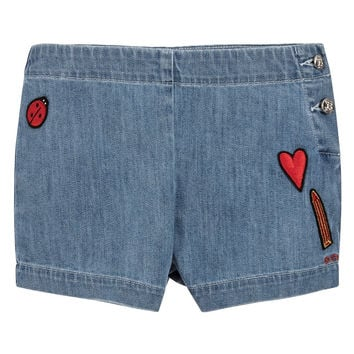 Girls Denim Shorts with Patches