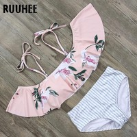 RUUHEE Bikini New Swimsuit Swimwear Women Lace up Top Bikinis Set High Waist Bathing Suit Push Up Women Ruffle Beachwear Biquini