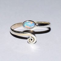 Toe Ring , Opal Toe Ring, Blue Opal Ring, Adjustable Toe Ring, Foot Ring