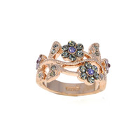 Dear Deer Rose Gold Plated Multicolor Floral Flower with Leaves CZ Cocktail Ring