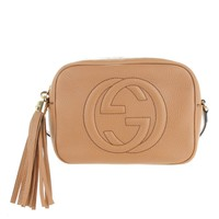 GUCCI Soho Disco Camelia Beige Rose Pink Light brown Leather Crossbody Bag New