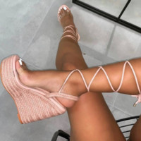 Hot style hot selling hemp rope cross strap wedges
