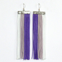 Fringe Earrings. Long Earrings. White, Light Lilac and Purple Earrings.
