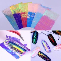 6 Sheets Holographic AB Color 3D Hollow Nail Sticker Colorful Nail Art Adhesive Transfer Sticker
