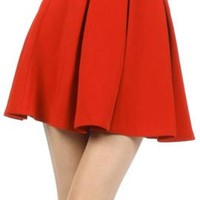Term Paper Pleated Skater Mini Skirt in Tomato   Sincerely Sweet Boutique