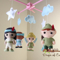 Baby Mobile - Baby Crib Mobile - Peter Pan Mermaid Mobile - Nursery Peter Pan Mobile - Girl Style (You Pick The Characters of your choice)