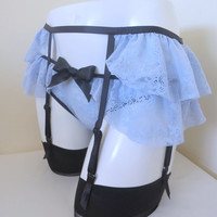 Forget Me Not Garter Belt - blue lace frilly suspenders