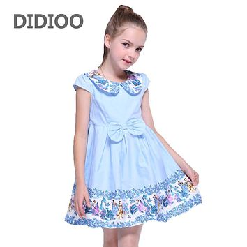 Party Dresses for Girls Summer Peter Pan Collar Dresses Kids Print Formal Clothes Children Bow Princess Dress