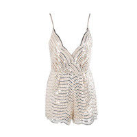 Beige Sequin Playsuit Romper