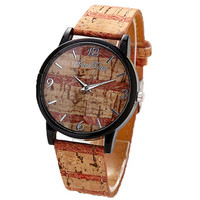 Mens Womens Unique Graffiti Imitation Wood Leather Strap Wrist Watch Best Lover Gift