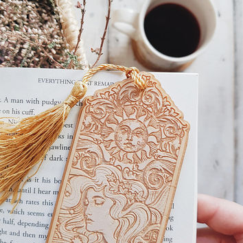 """ART NOUVEAU Bookmark, etched wood with beads Cosmic Lover - 20cm/ 8"""" approx - Laser cut wood bookmark - exclusive design by Medusa Dollmaker"""