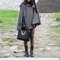 grey cape Wool Cape Cashmere coat double breasted button coat winter coat Hood cloak Hoodie cape Hooded Cape dy03 M,L