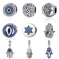 925 Sterling Silver Blue Crystals Hamsa & Jewish Charms Fit Pandora Original Bracelet Jewelry