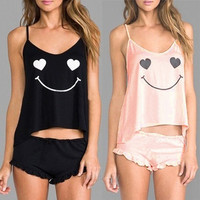 Women Sexy Robe Sleepwear Lingerie Vest Top+Short Pants Smile Pajamas Set  F_B = 1932468164