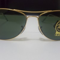 Rayban Cockpit RB3362 Designer Black Gold Sunglasses