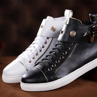 Indie Designs Gold-trimmed Leather Buckled High Top Sneakers