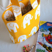 White Elephants and Bright Yellow Abigail Book Bag Can be Custom Made