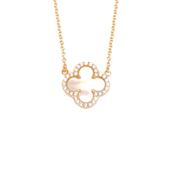 Small Mother of Pearl CZ Clover Necklace