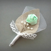 Mint and White Twigs for your Honey Wedding Men, Groom's Lace Boutonniere Pin, Linen Groomsman, Green Country Weddings, Burlap Shabby Chic