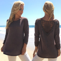 Backed By Lace Sweater Top In Mocha