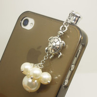 1PC Retro Alloy Turtle Pearl Cell Phone Earphone Antidust Plug Cap Charm for iPhone 5c,5s, Samsung S3,S4 Gift for Him