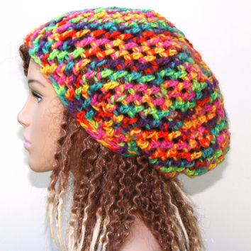 Rainbow slouchy beanie hat, fun bright hat, small Dread Tam hat, soft Hippie BoHo equality Snood Hat women hat