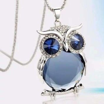 Night Shades Austrian Crystal Owl Cabochon Necklace ~ Three Colors