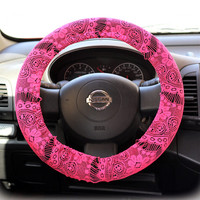 Steering-wheel-cover-for-wheel-car-accessories-Hot-Pink-Lace-Steering-Wheel-Cover