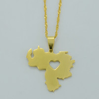 Venezuela Pendant Necklace for Women Men - Yellow Gold Plated Jewelry Map of Venezuela Necklaces #005705