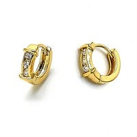 Gold Layered 5.132.031 Huggie Hoop, with White Cubic Zirconia, Polished Finish, Golden Tone