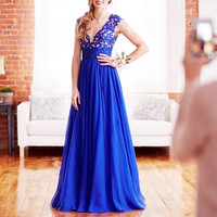 Sleeveless V-Neck Applique Royal Blue  Long Prom Dresses