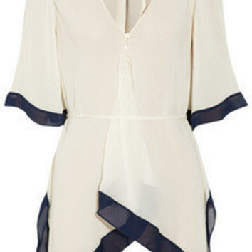 Elizabeth and James New Adeline belted silk-chiffon blouse - 50% Off Now at THE OUTNET