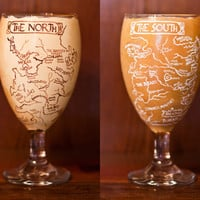 Game of Thrones Drinking Glass: Water, Juice, Cocktail Beer Glasses with Hand Painted Game of Thrones Map of Westeros