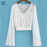 New Arrival Blusinhas Femininas Vintage Long Sleeve V Neck Crop Tops Chiffon Crochet Hollow Out Solid White Loose Casual Blouse