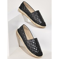 Cap Toe Quilted Espadrille Flats
