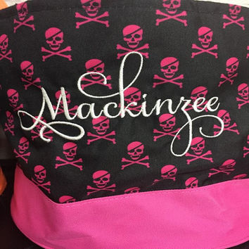 Personalized Skull Halloween Trick Or Treat Bag/Bucket