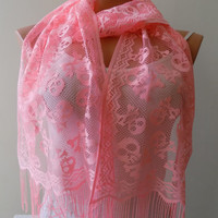 Neon Pink Skull scarf,Skull tulle scarf,Day of the Dead Scarf, Halloween, Tulle Cowl Wrap, Women Fashion Accessories, Lightweight Scarf