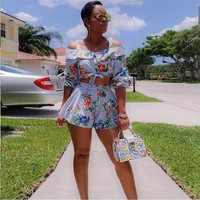 2018 Floral Print Two Piece Set Summer Women Off Shoulder Ruffle Crop Top and Shorts Set Half Sleeve 2 Piece Set Womens Outfits