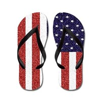 American Flag Vertical Position Flip Flops> 4th of July Items> Ande and Monica