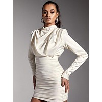 Laurella Satin Draped White Mini Dress