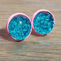 Druzy earrings- Aqua drusy - Pink stud druzy earrings
