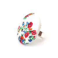 Vintage ring - large white ring - big fabric ring - bright button ring - statement ring happy cute blue red green