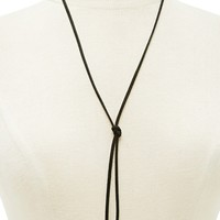 Faux Crystal Bolo Necklace