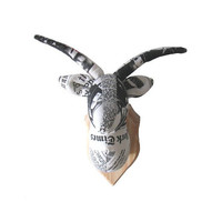 Goat — textile trophy, trophy head with wooden wall plaque, cotton, medallion, handmade, newspaper, taxidermy, OOAK