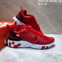 HCXX N651 UNDERCOVER x Nike Upcoming React Element Leather Big Logo Running Shoes Red