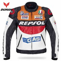 Trendy DUHAN Moto GP motorcycle REPSOL Racing Leather Jacket VS02 orange blue M L XL XXL 3XL good pu leahter made high quality fast AT_94_13