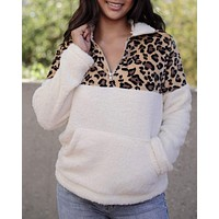 Leopard Half Zip Faux Sherpa Fleece Teddy Pullover Top in More Colors