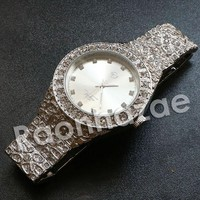 """Hip Hop """"Dynamic Duo"""" Silver Techno Pave Nugget Watch"""