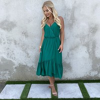 Stroll With Me Ruffle Maxi Dress in Forest Green